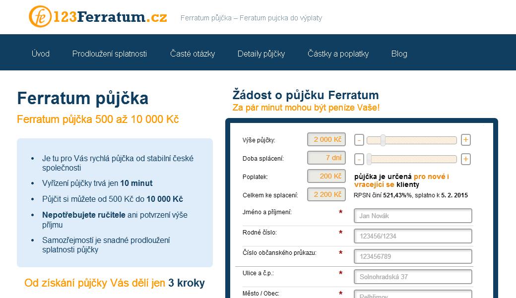 Ferratum půjčka - SMS půjčka bez 1 Kč
