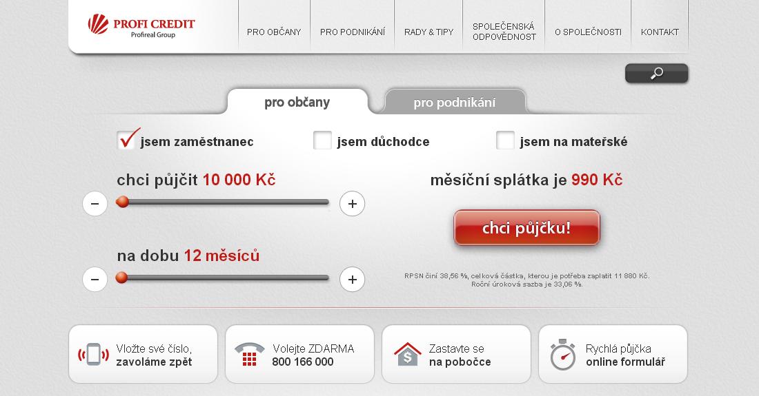 PROFI CREDIT - nebankovní půjčky - osobní i podnikatelské úvěry
