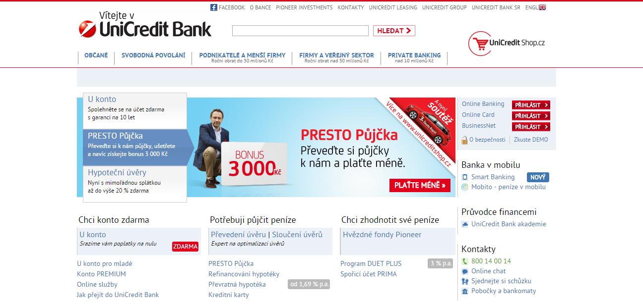 Využijte výhody UniCredit Bank